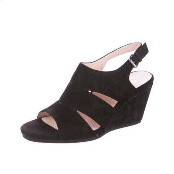 8fe38403e74233 Brand new Taryn Rose black felt wedges size 8